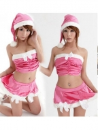 Sexual Pink Ruffle Christmas Costume