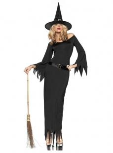 Sexy Black Toothed Hem Witch Costume