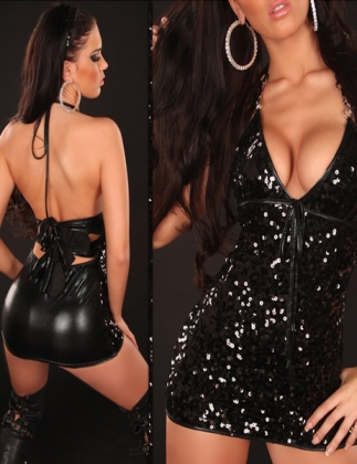 Ssxy Neck Top With Sequins Wetlook Party Dress