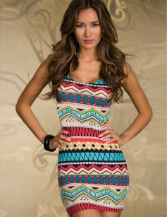 Bright Irregular Graphic Tight Dress