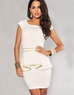 White Gold Trim OL Peplum Dress