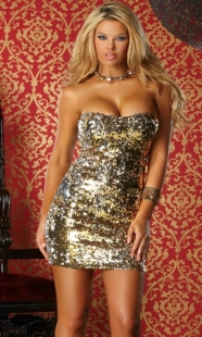Sparkle Sequin Club Dress Golden