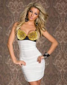 Gold Rivet Bra Pure White Clubwear