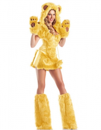 Deluxe Yellow Fur Cats Costume