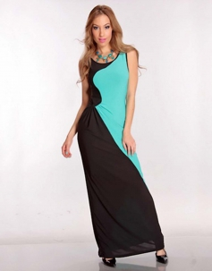 Elgant Black Green Color Combine Gown