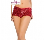 Shiny Red Shorts With Sequin