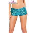 Shiny Turquoise Shorts With Sequin