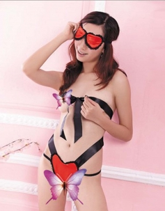 Sexy Black Ribbon Heart Lingerie