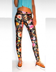 Corlorful Floral Black Decorative Leggings