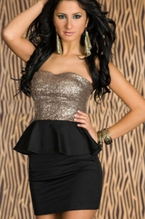 Black Shiny Strapless Peplum Dress With Sequins