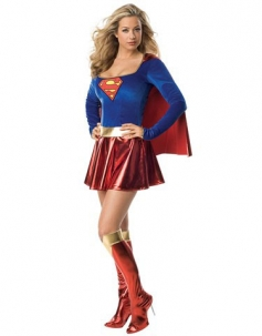 Blue Red Super Woman Costume With Gold Belt