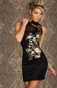 Black Classical Floral Print Chinese Dress