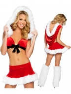 Sexy Red Velvet Bra Top Backless Christmas Costume