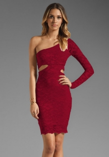 Wine Red One Shoulder Lace Dress