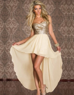 Sequin Strapless Cocktail Dress Beige