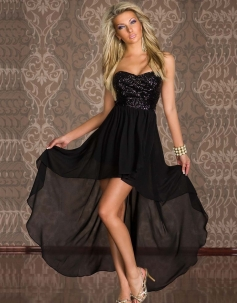 Sequin Strapless Cocktail Dress Black