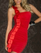 Sexy Red Glamour One Shoulder Dress