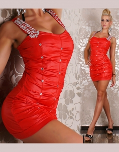Hot Rhinestones Red Dress