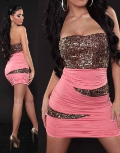 Pink Zigzag Bandeau Sequin Bust Dress