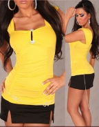 Sweetheart Pleat Yellow Sexy Top
