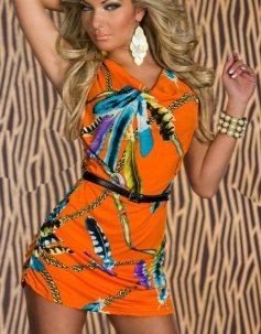 Orange Feathers and Chains Cowl Neck Dress