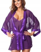Purple Sheer Babydoll With Robe