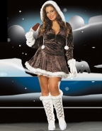 Shiny Gray Plus Size Christmas Costume