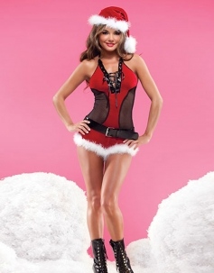 Seductive Mesh Lace-up Christmas Costume