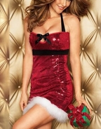 Shiny Sequin Halter Christmas Costume