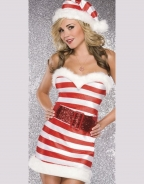 Strapless Stripe Candy Christmas Costume