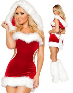 Strapless Cut-out Christmas Costume