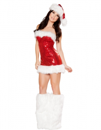 3PC Sequin Mini Dress Christmas Costume