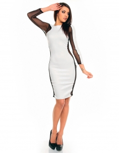 White Side Mesh Bodycon Dress