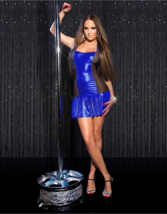 Blue Mentallic Side Fishnet Club Dress