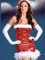 Shiny Strapless Red Dress Christmas Costume