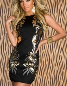 Luxury Floral  Gilding Party Dress Black