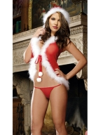 Flirty Long Fur Red Christmas Costume
