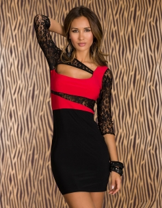 Red Lace Cut-out Mini Dress