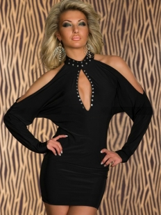 Cut-out Black Shoulder Clubwear