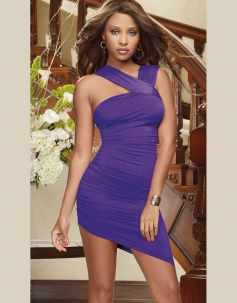 Irregular Hemline Purple Evening Dress