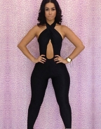 Black Sleeveless Halter Neck Jumpsuit