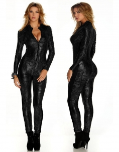 Black Crocodile Leather Bodysuit