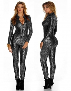 Gray Crocodile Leather Bodysuit