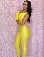Cut-out One Shoulder Jumpsuit Yellow