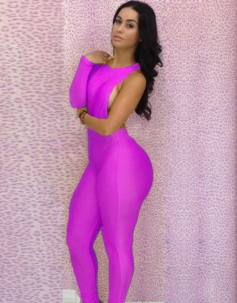 Cut-out One Shoulder Jumpsuit Purple