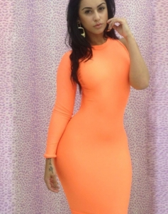 Cut-out One Shoulder Dress Orange