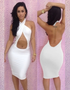 White Halter Neck Backless Dress