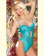 Spaghetti Stap Sea blue Lace Floral Printed babydoll lingerie sexy