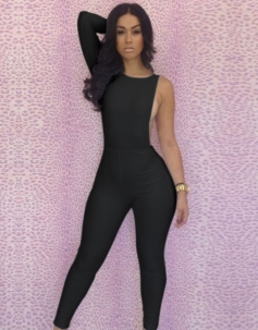 Cut-out One Shoulder Jumpsuit Black