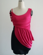 Rose Black Bicolors Ruffle Dress